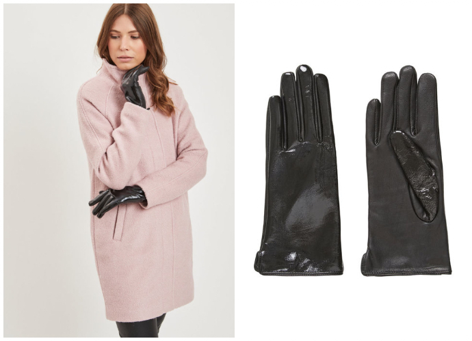 Estos guantes negros en charol son tendencia esta temporada (Vila Clothes). Referencia: Coated leather gloves/ Precio: 31,95 euros.